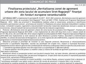 """Finalizarea proiectului """"Revitalizarea zonei de agrement urbane din zona lacului de acumulare Siret-Rogojești"""" finanțat din fonduri europene nerambursabile"""