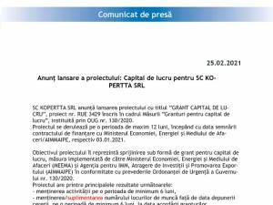 Anunț lansare a proiectului: Capital de lucru pentru SC KO-PERTTA SRL