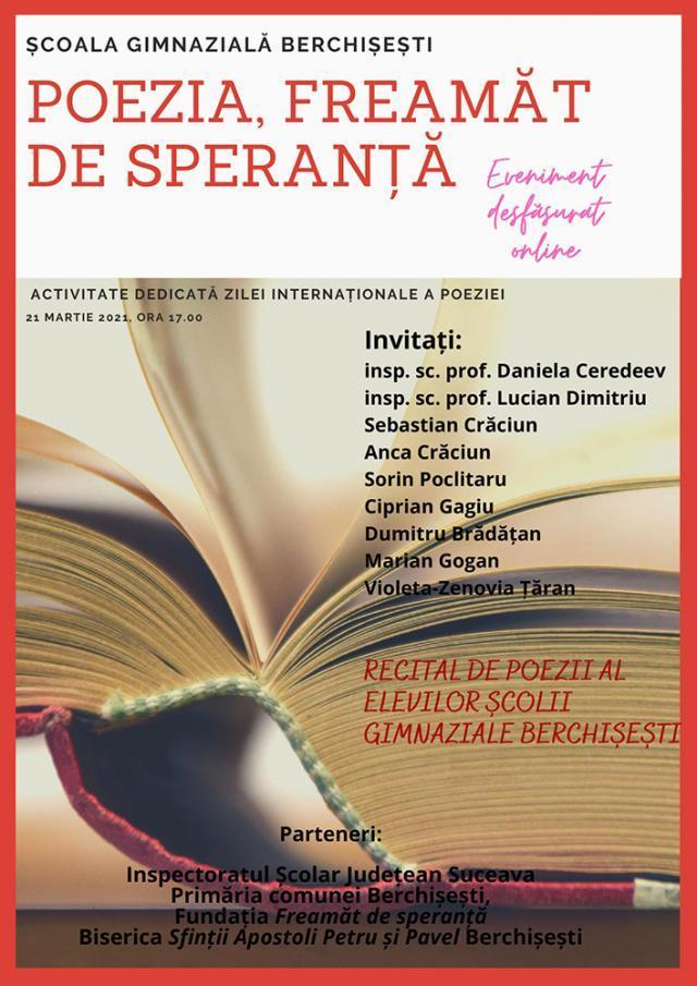"""""""Poezia, freamăt de speranță"""", eveniment online, de Ziua Internațională a Poeziei"""