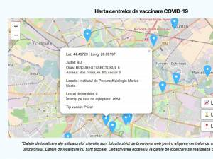 Harta interactivă a centrelor de vaccinare, pe tipuri de vaccin, este disponibilă