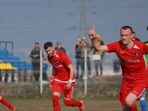 Golul lui Vitu nu le-a fost de ajuns rădăuțenilor pentru a scoate un rezultat pozitiv în disputa cu Miroslava. Foto Cristian Plosceac