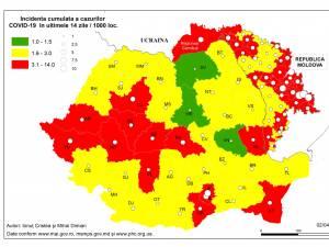 Harta incidenței Covid-19 la data de 5 aprilie 2021
