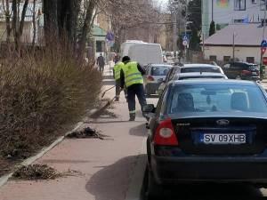 Lucrările de salubrizare, împiedicate de mașinile lăsate parcate pe stradă sau pe trotuare, în ciuda avertismentelor