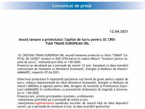 Anunț lansare a proiectului: Capital de lucru pentru SC CRISTIAN TRANS EUROPEAN SRL