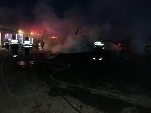 Incendiu devastator la un gater: hala a ars cu tot cu utilaje și material lemnos