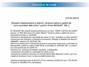 """Început implementare a măsurii """"Granturi pentru capital de lucru acordate IMM-urilor"""" pentru firma NICOLMIT  SRL"""