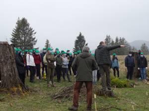 """Zeci de elevi și profesori de la Colegiul """"Alexandru cel Bun"""" Gura Humorului au participat la o acțiune de împădurire"""