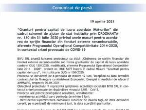 Obținerea de sprijin financiar din fonduri externe nerambursabile sub forma granturilor de capital de lucru acordate conform OUG 130/2020, modificată, aferente Programului Operațional Competitivi-tate 2014 – 2020