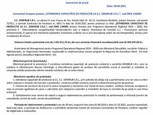 "Comunicat începere proiect ""EXTINDEREA CAPACITĂȚII DE PRODUCȚIE LA S.C. DEMIRUB S.R.L."", cod SMIS 134000"