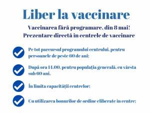 Liber la vaccinare anti-Covid, fără programare