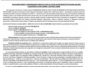 FINALIZARE PROIECT: MODERNIZARE STRĂZI DE ACCES ȘI LOCURI DE RECREARE ÎN STAȚIUNEA BALNEO-CLIMATERICĂ VATRA DORNEI, COD SMIS 118996