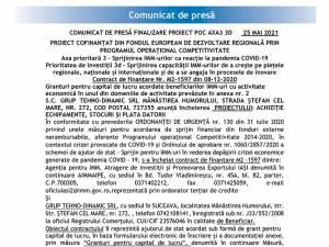 COMUNICAT DE PRESĂ FINALIZARE PROIECT POC AXA3 3D - PROIECT COFINANȚAT DIN FONDUL EUROPEAN DE DEZVOLTARE REGIONALĂ PRIN PROGRAMUL OPERAȚIONAL COMPETITIVITATE
