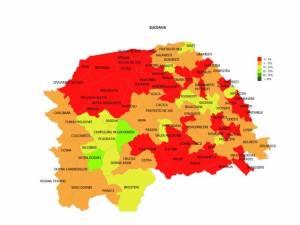 Vaccinarea anticovid în județul Suceava are în continuare un ritm lent, cea mai mare parte a hărții vaccinării fiind colorată în roșu și portocaliu