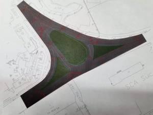 Varianta de proiect pentru amenajarea sensului giratoriu, cu parcul din intersecție integrat