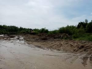 Zona în care se exploata, pe malul râului Suceava, la Frătăuții Vechi