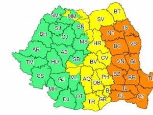 Cod galben de ploi însemnate cantitativ în Suceava și cod portocaliu în aproape un sfert din țară
