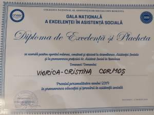 Viorica-Cristina Cormoș a fost premiată cu ocazia celei de-a șaptea ediții a Galei Naționale a Excelenței în Asistență Socială