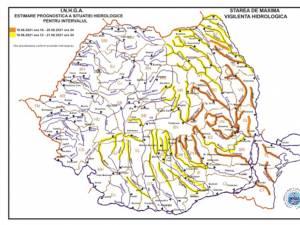 Avertizarea hidrologică de tip cod galben, până pe 21 iunie