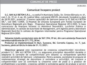 Comunicat începere proiectCrearea capacității de fabricare beton la SC BAV ALX BETON SRL