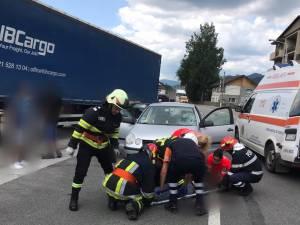 Accidentul s-a petrecut miercuri la amiază, pe o stradă din Vatra Dornei