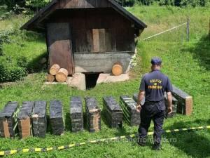 Depozit de țigări de contrabandă în pivnița unei case din Straja