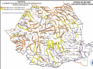 Harta avertizare hidro 19 iulie 2021