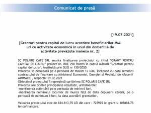 Granturi pentru capital de lucru acordate beneficiarilorIMM-uri cu activitate economică în unul din domeniile de activitate prevăzute înanexa nr. 2