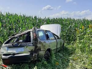 Mașina în care erau cei patru copii. Foto: Ziarul Evenimentul