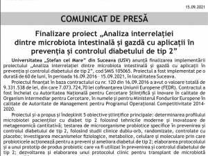 """Finalizare proiect """"Analiza interrelației dintre microbiota intestinală și gazdă cu aplicații în prevenția și controlul diabetului de tip 2"""""""