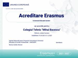 """Colegiul Tehnic """"Mihai Băcescu"""" din Fălticeni a obținut Acreditarea pentru proiecte Erasmus+"""