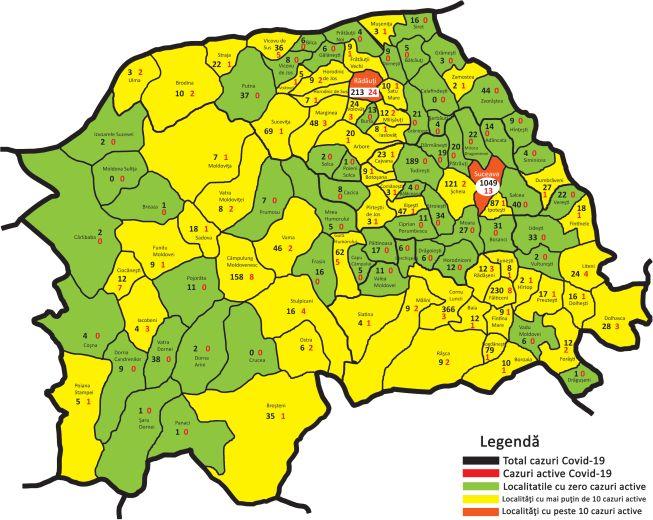 Harta Cazuri Covid - iulie 2020