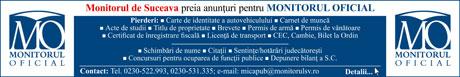 Monitorul de Suceava preia anunturi pentru Monitorul Oficial