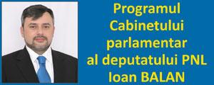 Programul Cabinetului parlamentar al deputatului PNL Ioan BALAN