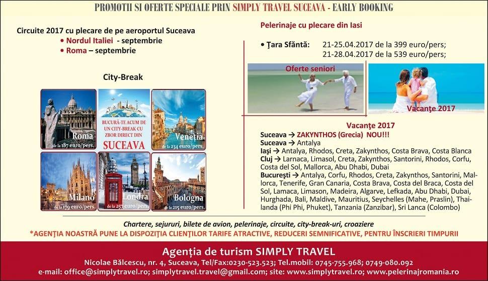 Promotii si oferte prin Simply Travel Suceava