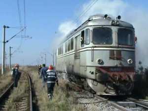 Locomotivă în flăcări, la Dărmăneşti