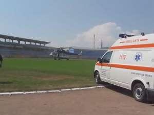 Victima unui accident rutier, preluată de un elicopter şi dusă la Bucureşti