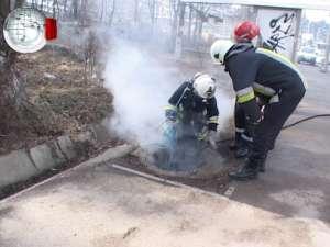 Incendiu de proporţii într-un canal de pe Calea Unirii din Suceava