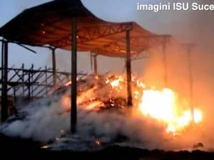 Incendiu cu sute de tone de furaje distruse, în satul Călineşti-Enache