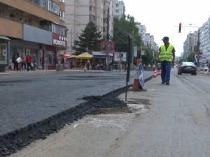 Sens unic pe bulevardul George Enescu din Suceava, din cauza asfaltării