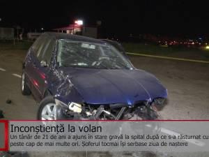 Tânăr de 21 de ani, rănit grav în urma unui accident violent la intrarea în Suceava, pe fondul vitezei excesive